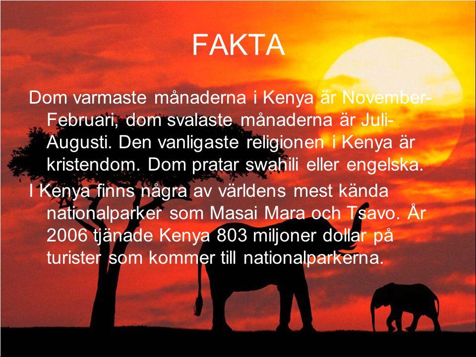 FAKTA Dom varmaste månaderna i Kenya är November- Februari, dom svalaste månaderna är Juli- Augusti. Den vanligaste religionen i Kenya är kristendom.