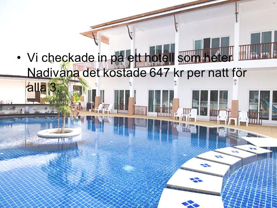 •Vi checkade in på ett hotell som heter Nadivana det kostade 647 kr per natt för alla 3.
