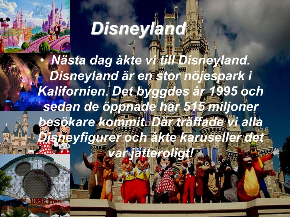 Disneyland •N•Nästa dag åkte vi till Disneyland. Disneyland är en stor nöjespark i Kalifornien. Det byggdes år 1995 och sedan de öppnade har 515 miljo