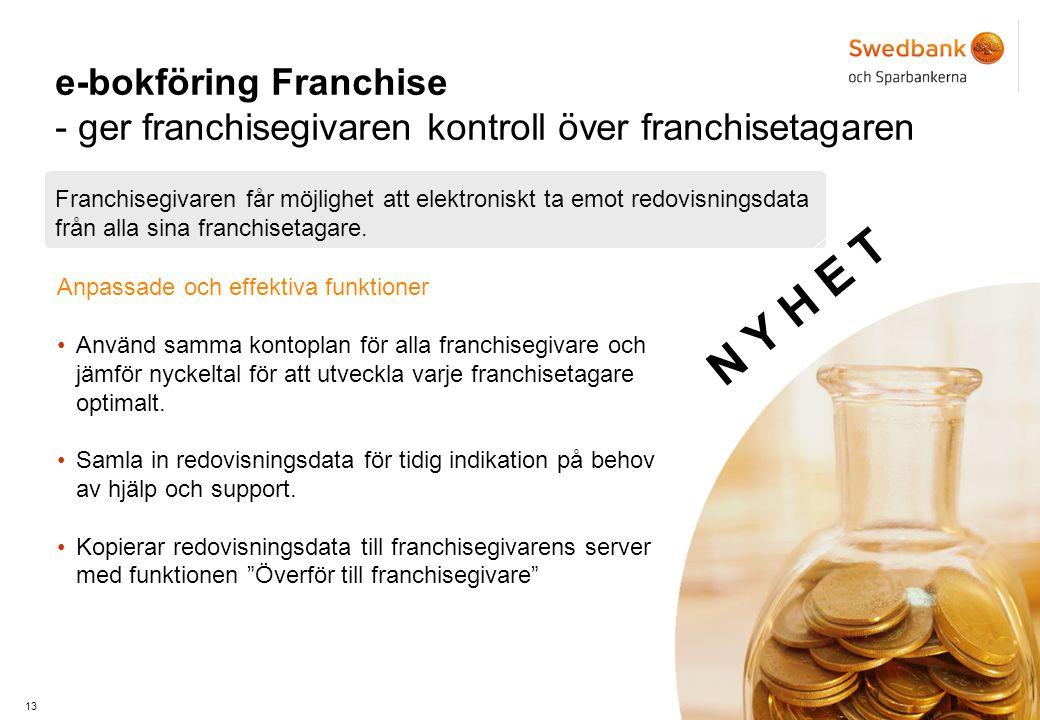 13 e-bokföring Franchise - ger franchisegivaren kontroll över franchisetagaren Franchisegivaren får möjlighet att elektroniskt ta emot redovisningsdata från alla sina franchisetagare.