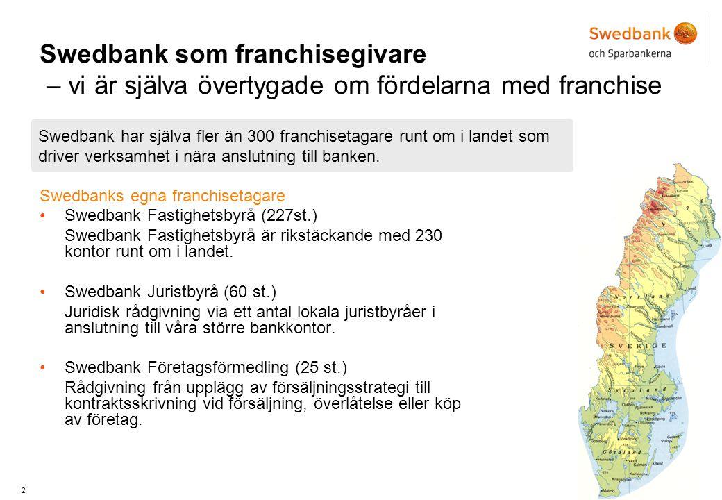 2 Swedbank som franchisegivare – vi är själva övertygade om fördelarna med franchise Swedbanks egna franchisetagare •Swedbank Fastighetsbyrå (227st.) Swedbank Fastighetsbyrå är rikstäckande med 230 kontor runt om i landet.