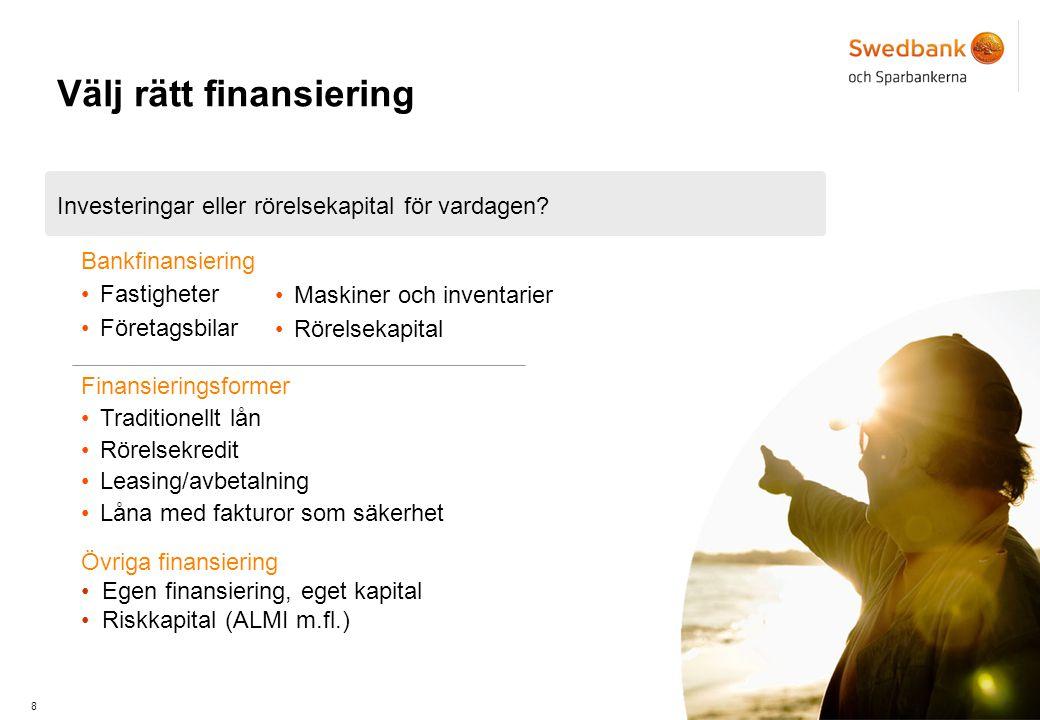 8 Bankfinansiering Investeringar eller rörelsekapital för vardagen.
