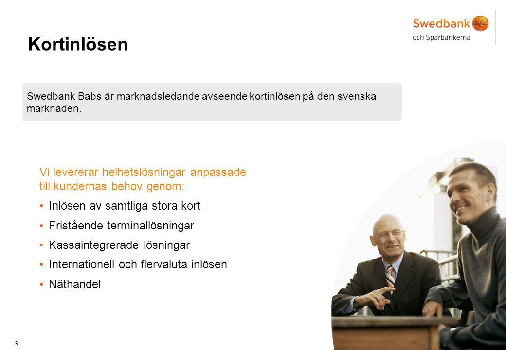 9 Kortinlösen Swedbank Babs är marknadsledande avseende kortinlösen på den svenska marknaden.