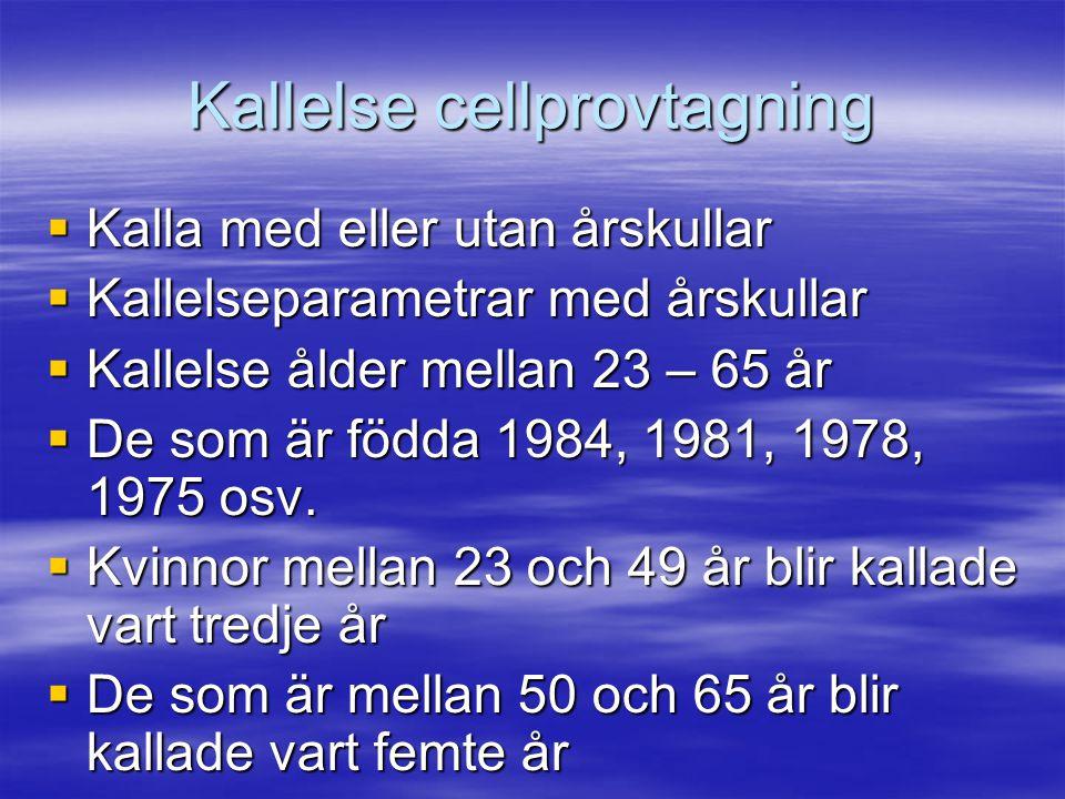Kallelse cellprovtagning  Kalla med eller utan årskullar  Kallelseparametrar med årskullar  Kallelse ålder mellan 23 – 65 år  De som är födda 1984