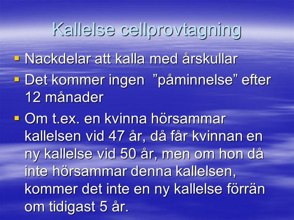 """Kallelse cellprovtagning  Nackdelar att kalla med årskullar  Det kommer ingen """"påminnelse"""" efter 12 månader  Om t.ex. en kvinna hörsammar kallelsen"""