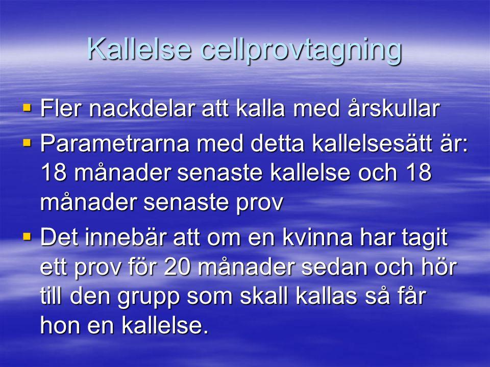 Kallelse cellprovtagning  Fler nackdelar att kalla med årskullar  Parametrarna med detta kallelsesätt är: 18 månader senaste kallelse och 18 månader