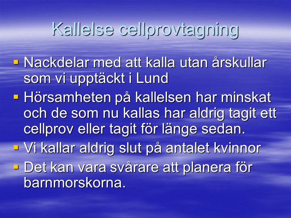 Kallelse cellprovtagning  Nackdelar med att kalla utan årskullar som vi upptäckt i Lund  Hörsamheten på kallelsen har minskat och de som nu kallas h