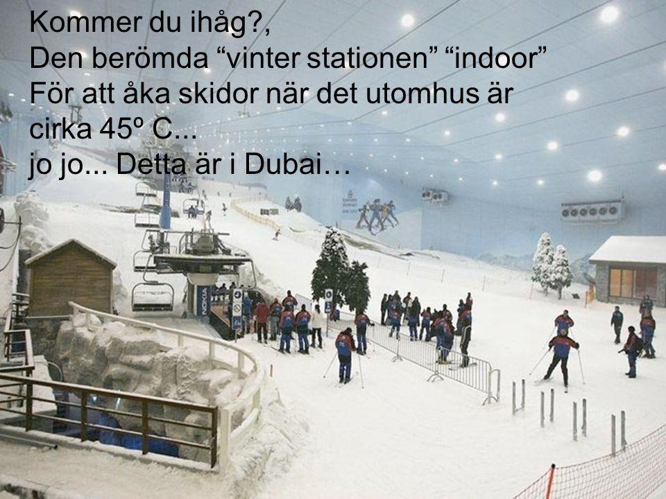 Kommer du ihåg?, Den berömda vinter stationen indoor För att åka skidor när det utomhus är cirka 45º C...