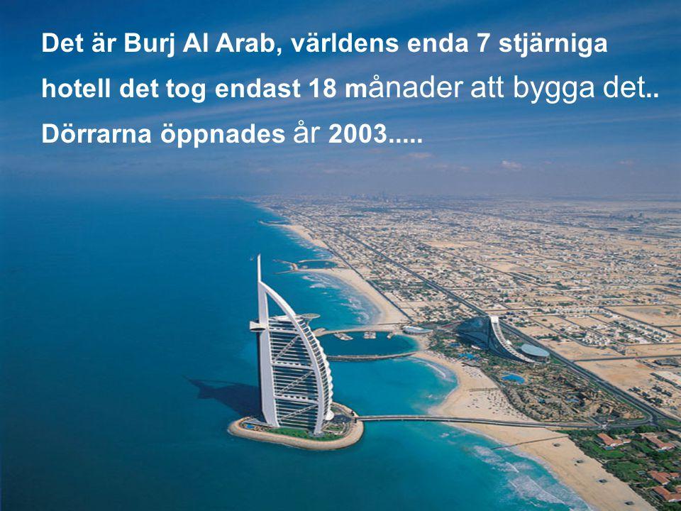 Det är Burj Al Arab, världens enda 7 stjärniga hotell det tog endast 18 m ånader att bygga det..