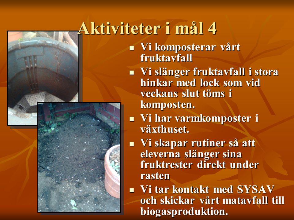 Aktiviteter i mål 4  Vi komposterar vårt fruktavfall  Vi slänger fruktavfall i stora hinkar med lock som vid veckans slut töms i komposten.  Vi har