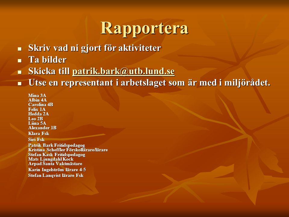 Rapportera  Skriv vad ni gjort för aktiviteter  Ta bilder  Skicka till patrik.bark@utb.lund.se patrik.bark@utb.lund.se  Utse en representant i arb