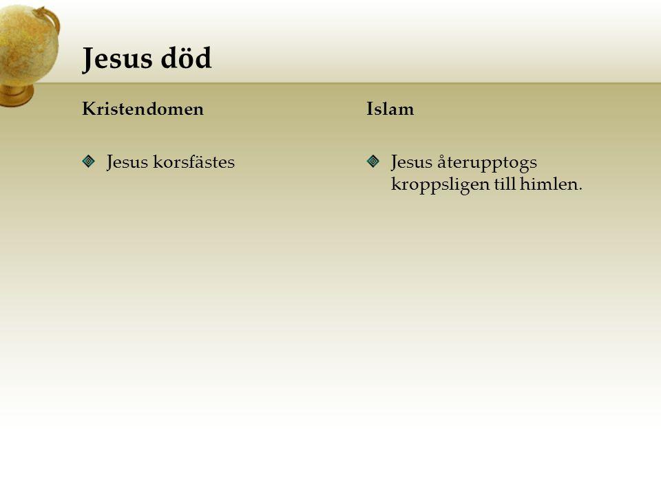Jesus död Kristendomen Jesus korsfästes Islam Jesus återupptogs kroppsligen till himlen.