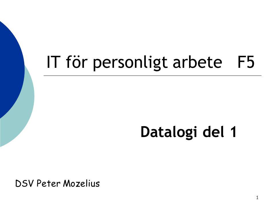 1 IT för personligt arbete F5 Datalogi del 1 DSV Peter Mozelius