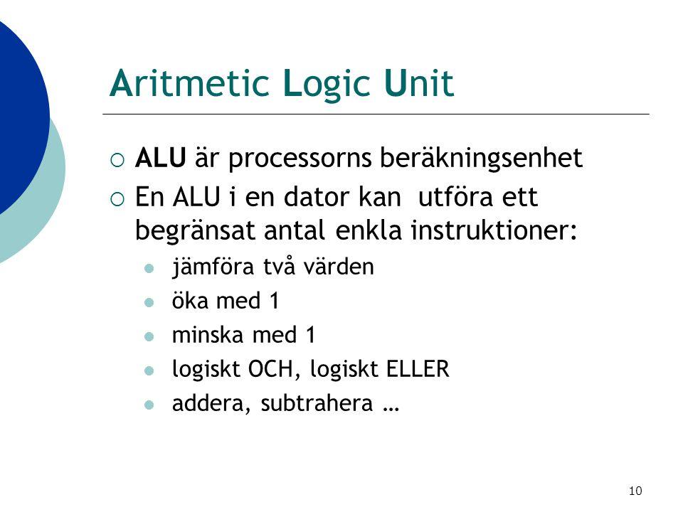 10 Aritmetic Logic Unit  ALU är processorns beräkningsenhet  En ALU i en dator kan utföra ett begränsat antal enkla instruktioner:  jämföra två vär