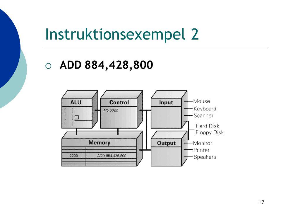 17 Instruktionsexempel 2  ADD 884,428,800