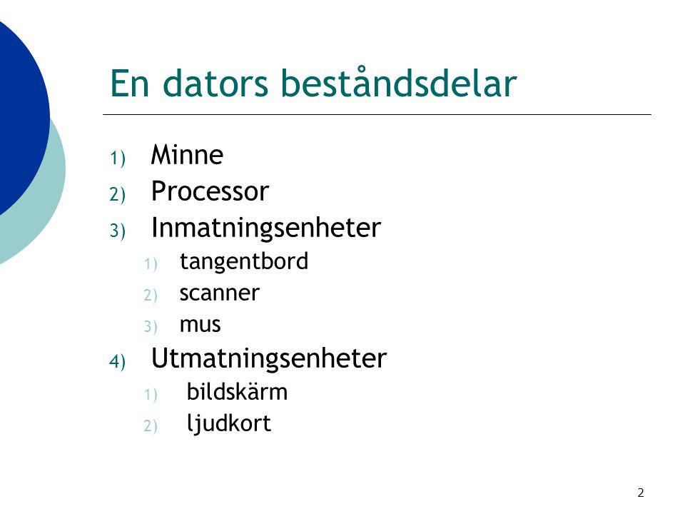 2 En dators beståndsdelar 1) Minne 2) Processor 3) Inmatningsenheter 1) tangentbord 2) scanner 3) mus 4) Utmatningsenheter 1) bildskärm 2) ljudkort