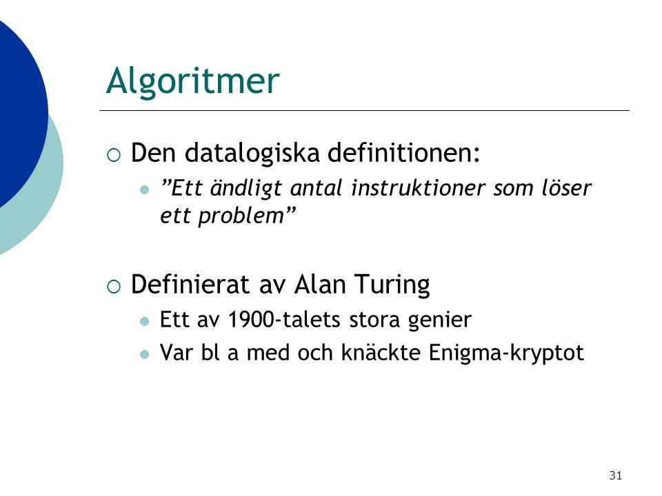 """31 Algoritmer  Den datalogiska definitionen:  """"Ett ändligt antal instruktioner som löser ett problem""""  Definierat av Alan Turing  Ett av 1900-tale"""