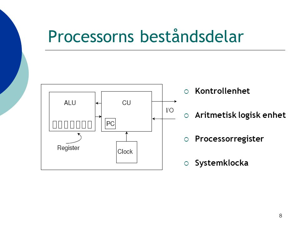 8 Processorns beståndsdelar  Kontrollenhet  Aritmetisk logisk enhet  Processorregister  Systemklocka