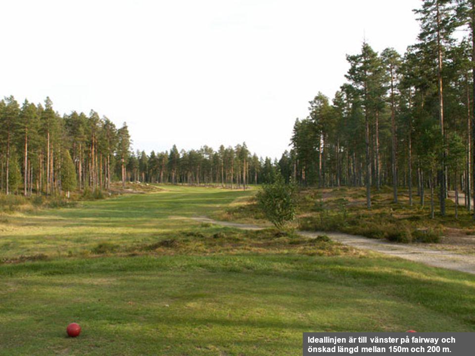 Ideallinjen är till vänster på fairway och önskad längd mellan 150m och 200 m.