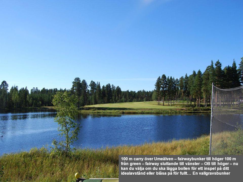100 m carry över Umeälven – fairwaybunker till höger 100 m från green – fairway sluttande till vänster – OB till höger – nu kan du välja om du ska läg