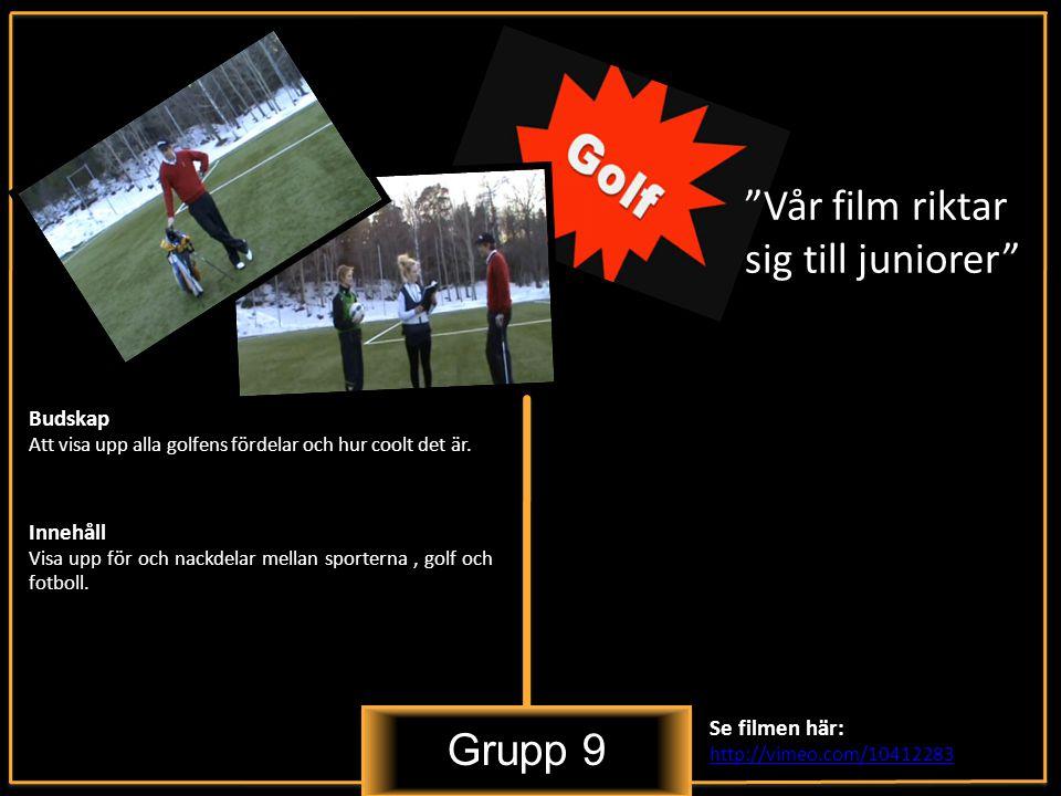 Grupp 9 Vår film riktar sig till juniorer Innehåll Visa upp för och nackdelar mellan sporterna, golf och fotboll.