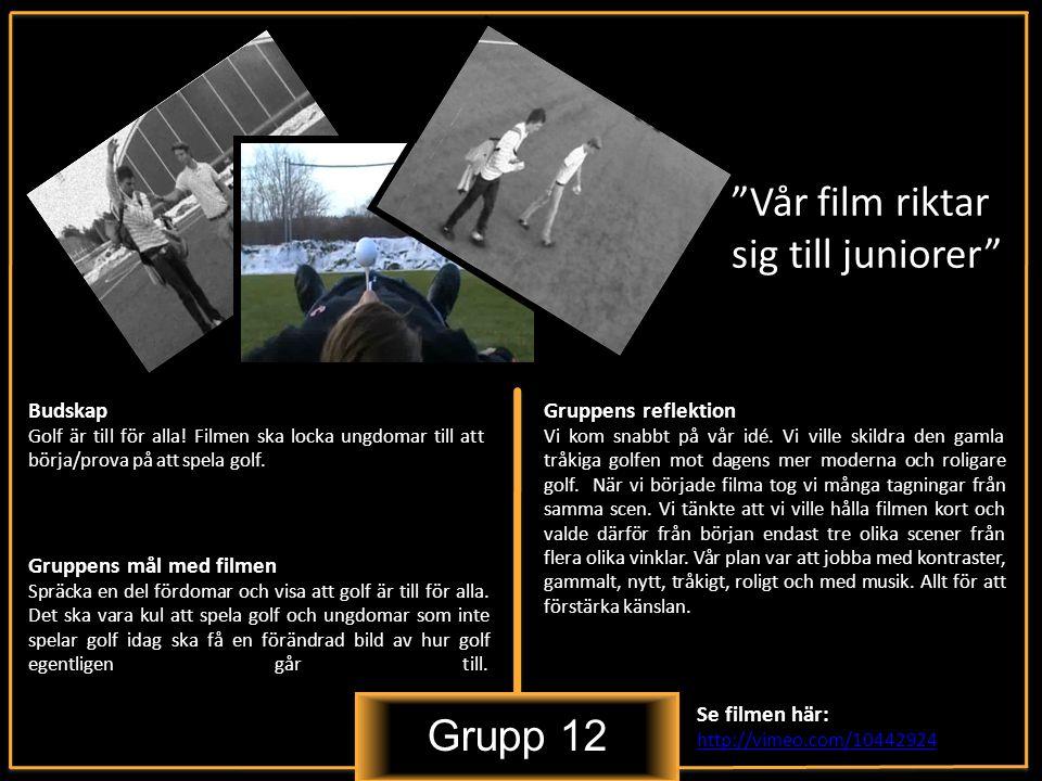 Grupp 12 Vår film riktar sig till juniorer Budskap Golf är till för alla.