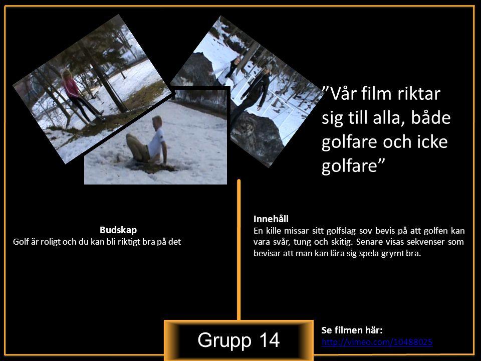 Grupp 14 Vår film riktar sig till alla, både golfare och icke golfare Innehåll En kille missar sitt golfslag sov bevis på att golfen kan vara svår, tung och skitig.