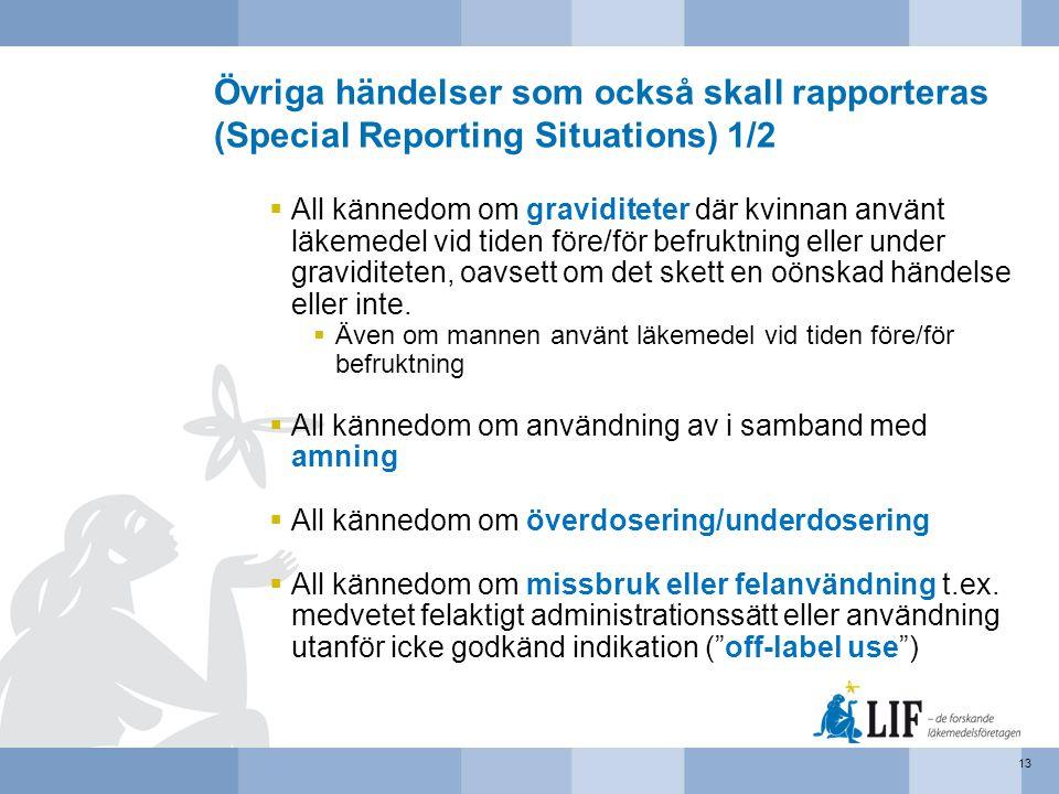 Övriga händelser som också skall rapporteras (Special Reporting Situations) 1/2  All kännedom om graviditeter där kvinnan använt läkemedel vid tiden