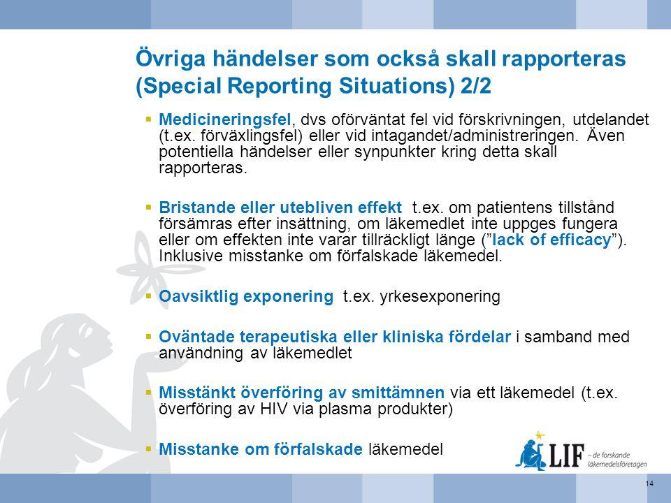 Övriga händelser som också skall rapporteras (Special Reporting Situations) 2/2  Medicineringsfel, dvs oförväntat fel vid förskrivningen, utdelandet