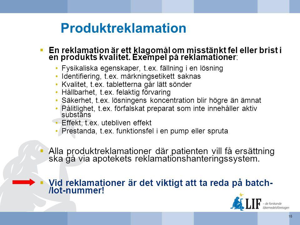 Produktreklamation  En reklamation är ett klagomål om misstänkt fel eller brist i en produkts kvalitet. Exempel på reklamationer: •Fysikaliska egensk