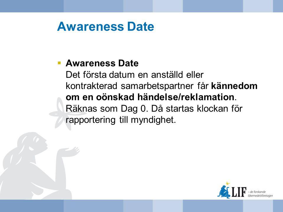 Awareness Date  Awareness Date Det första datum en anställd eller kontrakterad samarbetspartner får kännedom om en oönskad händelse/reklamation. Räkn