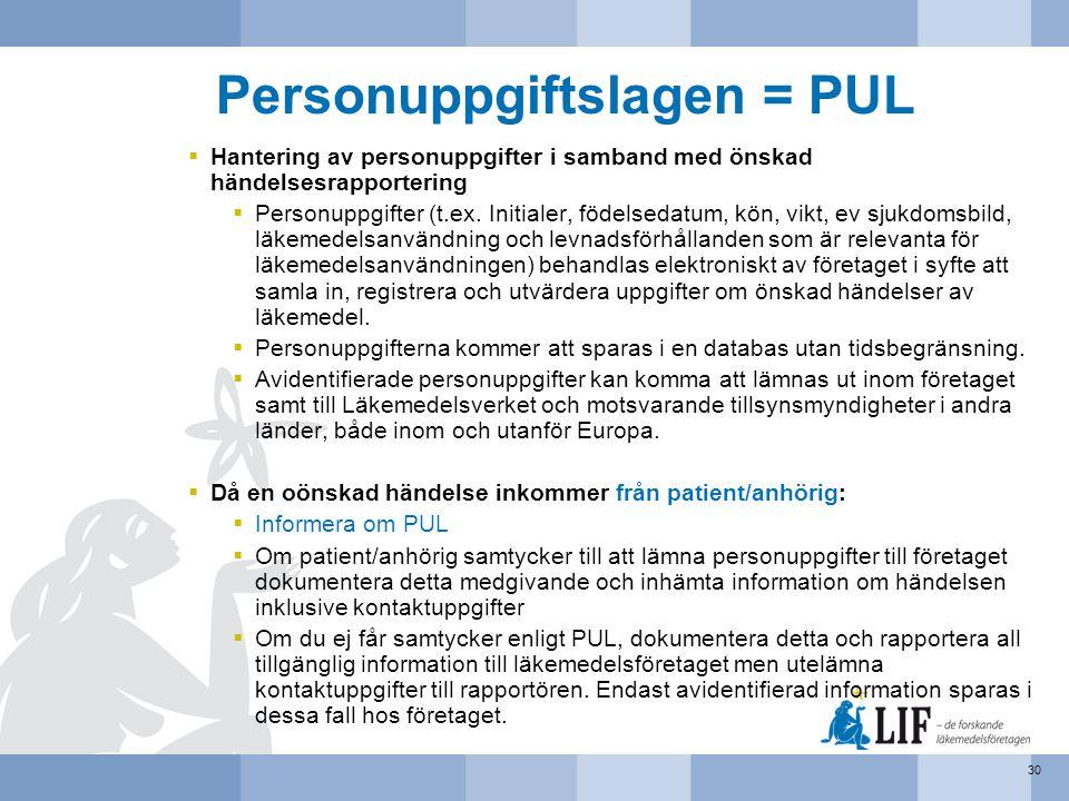 Personuppgiftslagen = PUL  Hantering av personuppgifter i samband med önskad händelsesrapportering  Personuppgifter (t.ex. Initialer, födelsedatum,