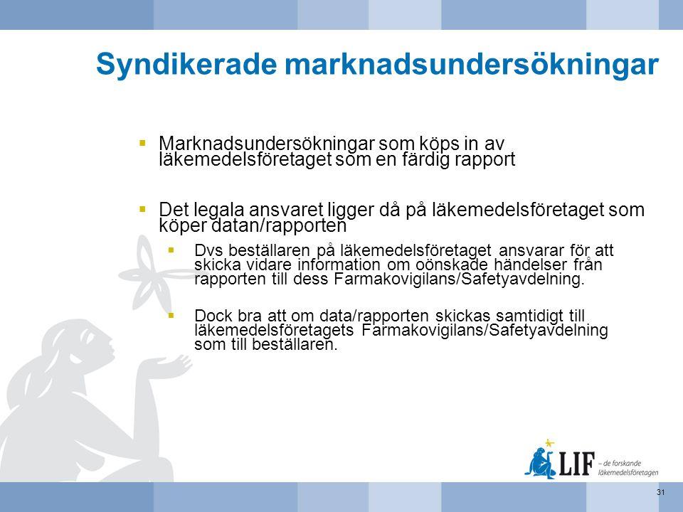 Syndikerade marknadsundersökningar  Marknadsundersökningar som köps in av läkemedelsföretaget som en färdig rapport  Det legala ansvaret ligger då p
