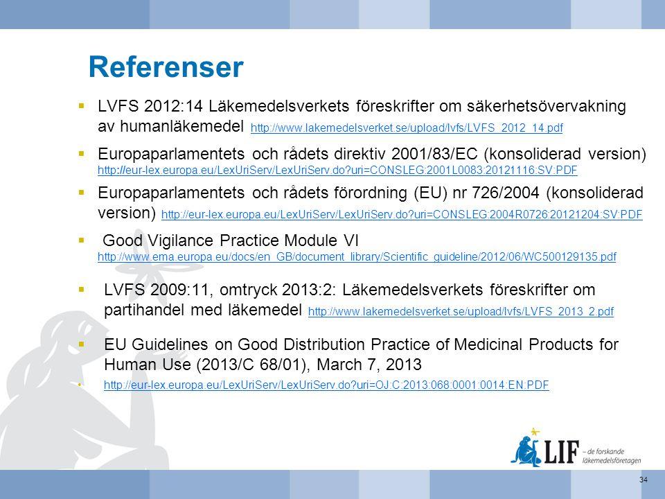 Referenser  LVFS 2012:14 Läkemedelsverkets föreskrifter om säkerhetsövervakning av humanläkemedel http://www.lakemedelsverket.se/upload/lvfs/LVFS_201