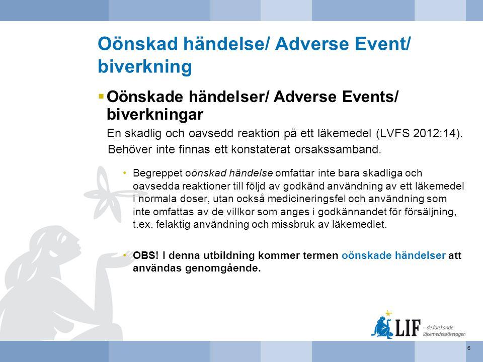 Oönskad händelse/ Adverse Event/ biverkning  Oönskade händelser/ Adverse Events/ biverkningar En skadlig och oavsedd reaktion på ett läkemedel (LVFS