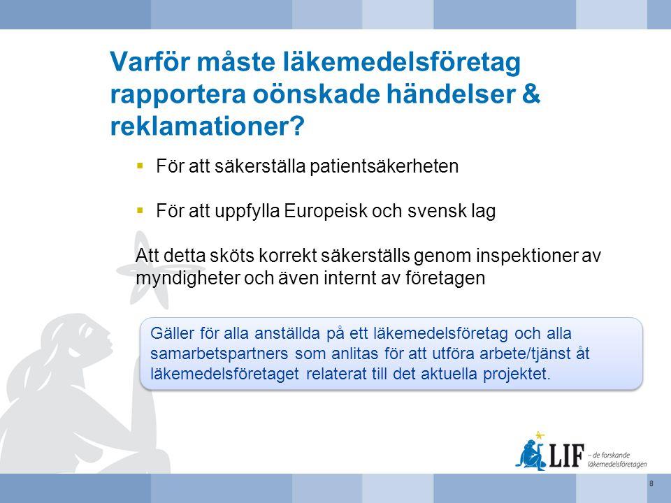 Varför måste läkemedelsföretag rapportera oönskade händelser & reklamationer?  För att säkerställa patientsäkerheten  För att uppfylla Europeisk och