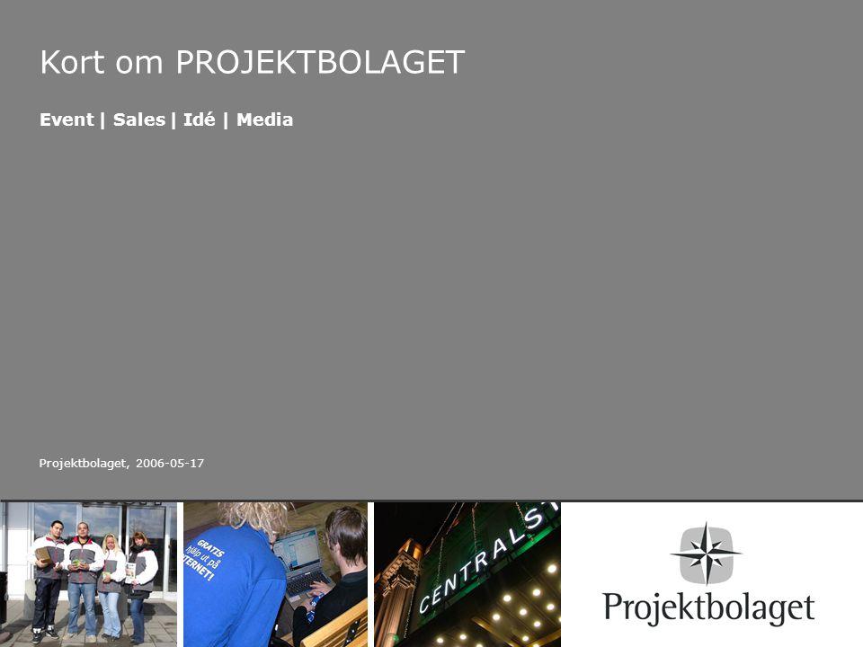 Kort om PROJEKTBOLAGET Event | Sales | Idé | Media Projektbolaget, 2006-05-17