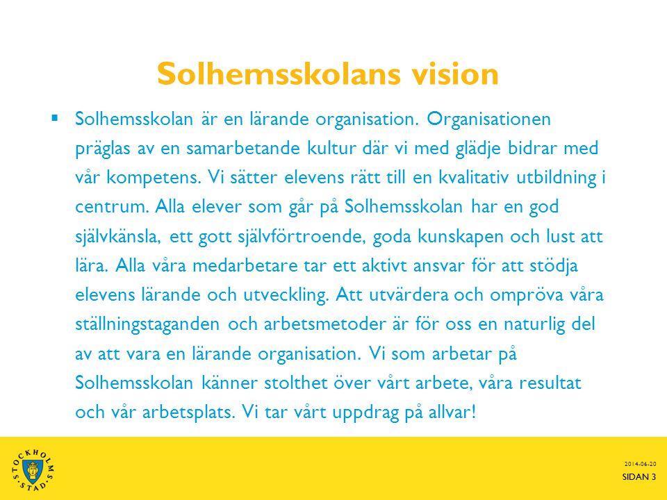 SIDAN 3 Solhemsskolans vision  Solhemsskolan är en lärande organisation.