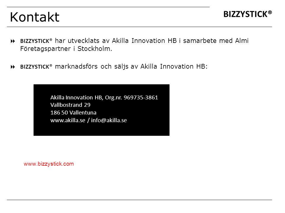 Kontakt  BIZZYSTICK® har utvecklats av Akilla Innovation HB i samarbete med Almi Företagspartner i Stockholm.  BIZZYSTICK® marknadsförs och säljs av