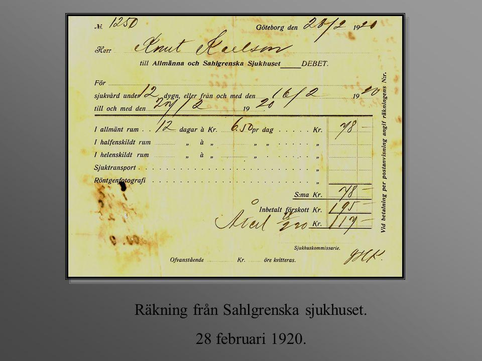 Räkning från Sahlgrenska sjukhuset. 28 februari 1920.