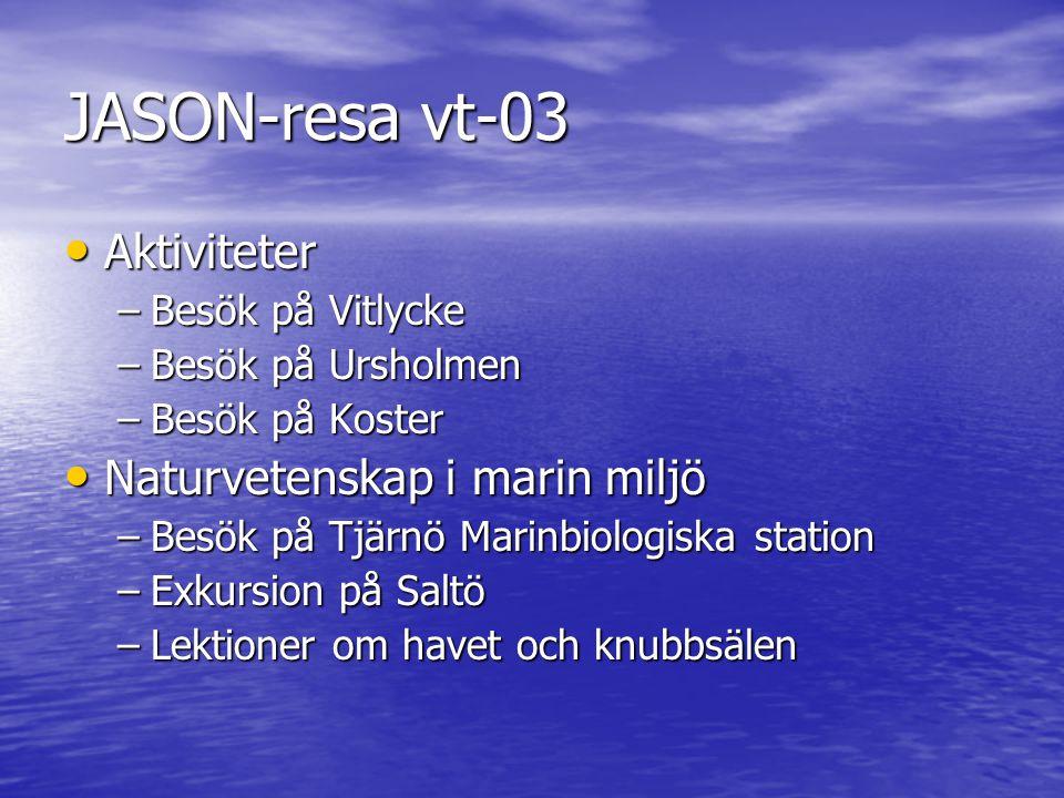 JASON-resa vt-03 • Aktiviteter –Besök på Vitlycke –Besök på Ursholmen –Besök på Koster • Naturvetenskap i marin miljö –Besök på Tjärnö Marinbiologiska