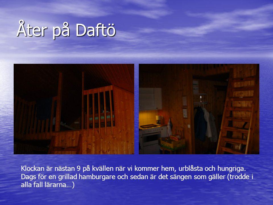 Åter på Daftö Klockan är nästan 9 på kvällen när vi kommer hem, urblåsta och hungriga. Dags för en grillad hamburgare och sedan är det sängen som gäll