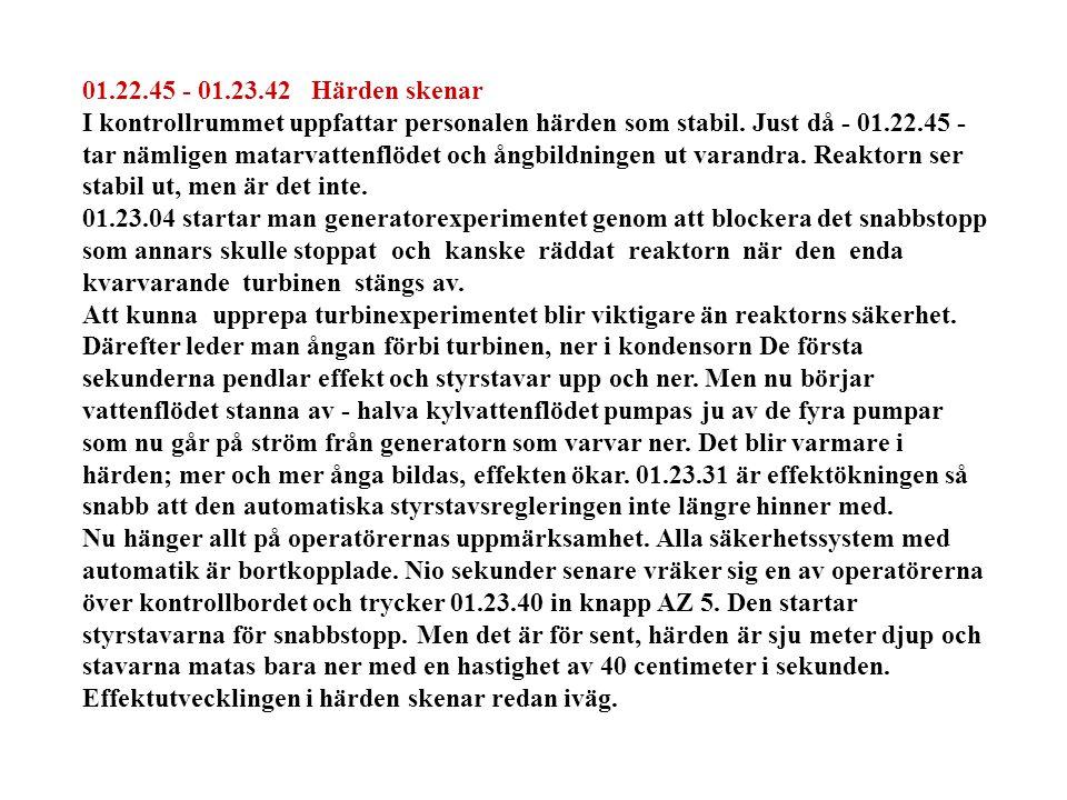 01.22.45 - 01.23.42 Härden skenar I kontrollrummet uppfattar personalen härden som stabil.