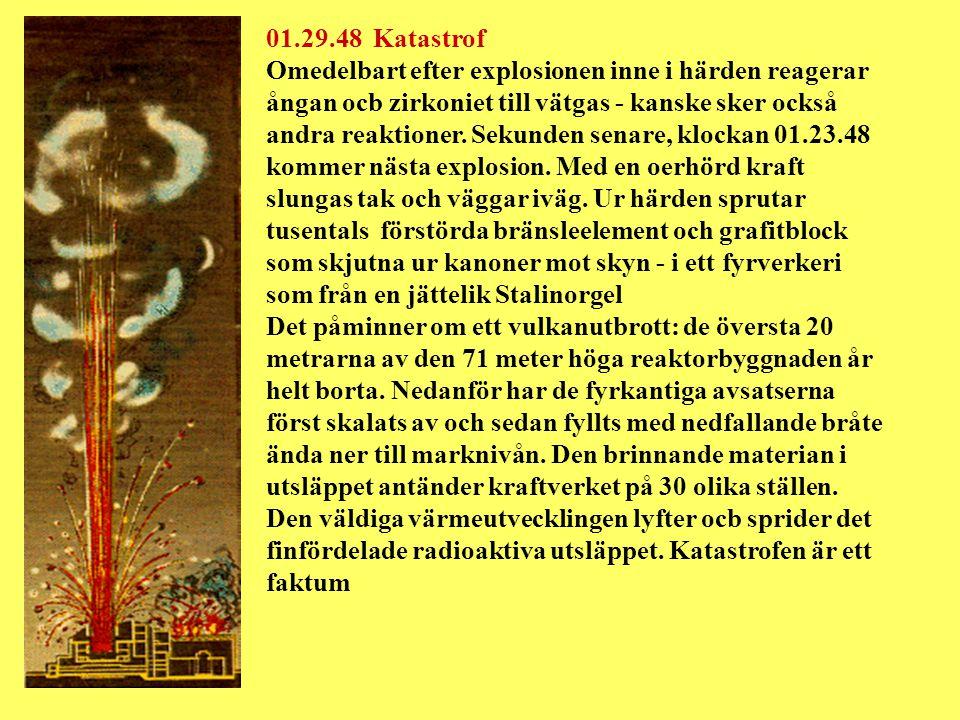 01.29.48 Katastrof Omedelbart efter explosionen inne i härden reagerar ångan ocb zirkoniet till vätgas - kanske sker också andra reaktioner.