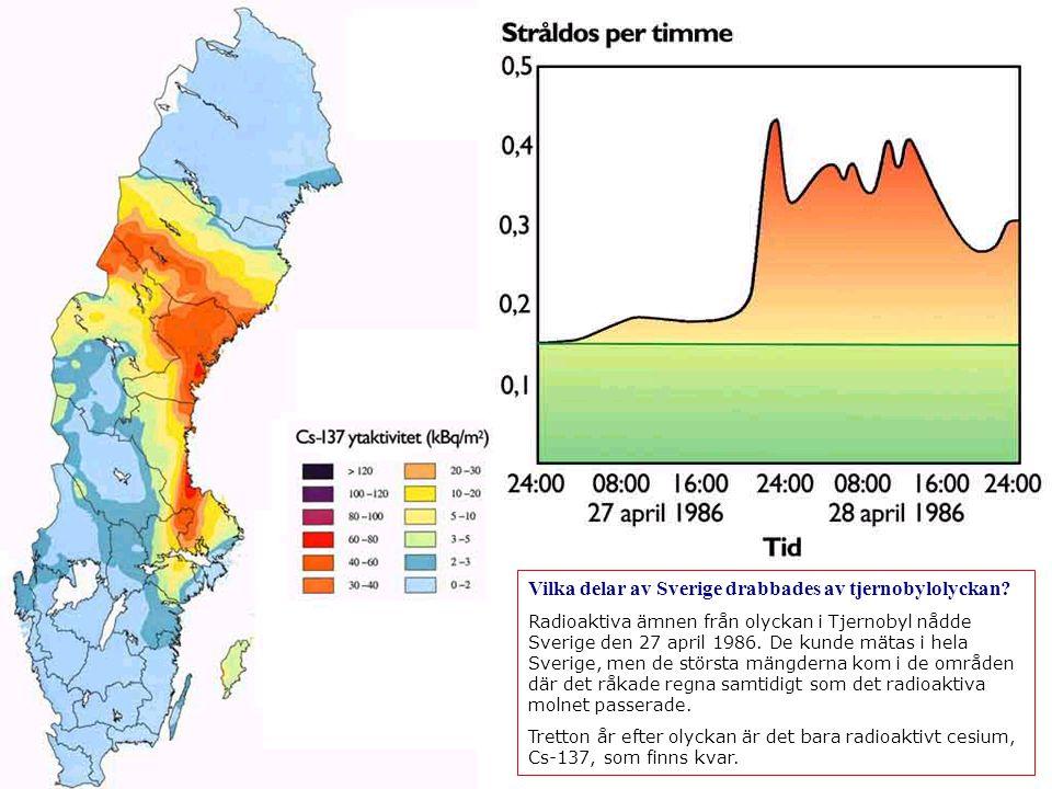 Vilka delar av Sverige drabbades av tjernobylolyckan.