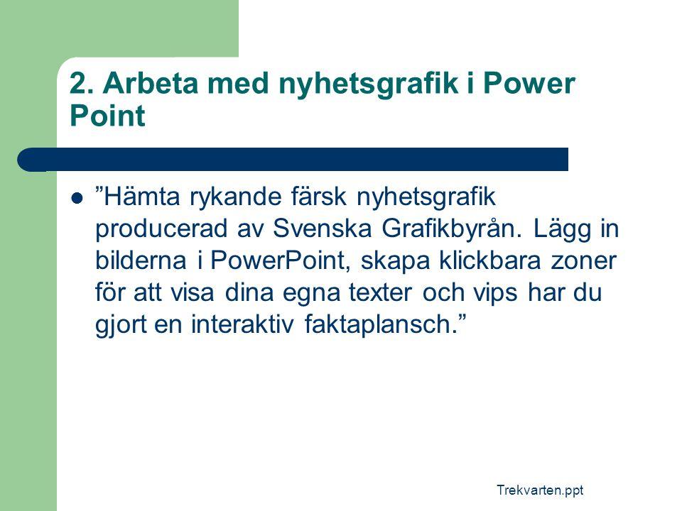 """Trekvarten.ppt 2. Arbeta med nyhetsgrafik i Power Point  """"Hämta rykande färsk nyhetsgrafik producerad av Svenska Grafikbyrån. Lägg in bilderna i Powe"""