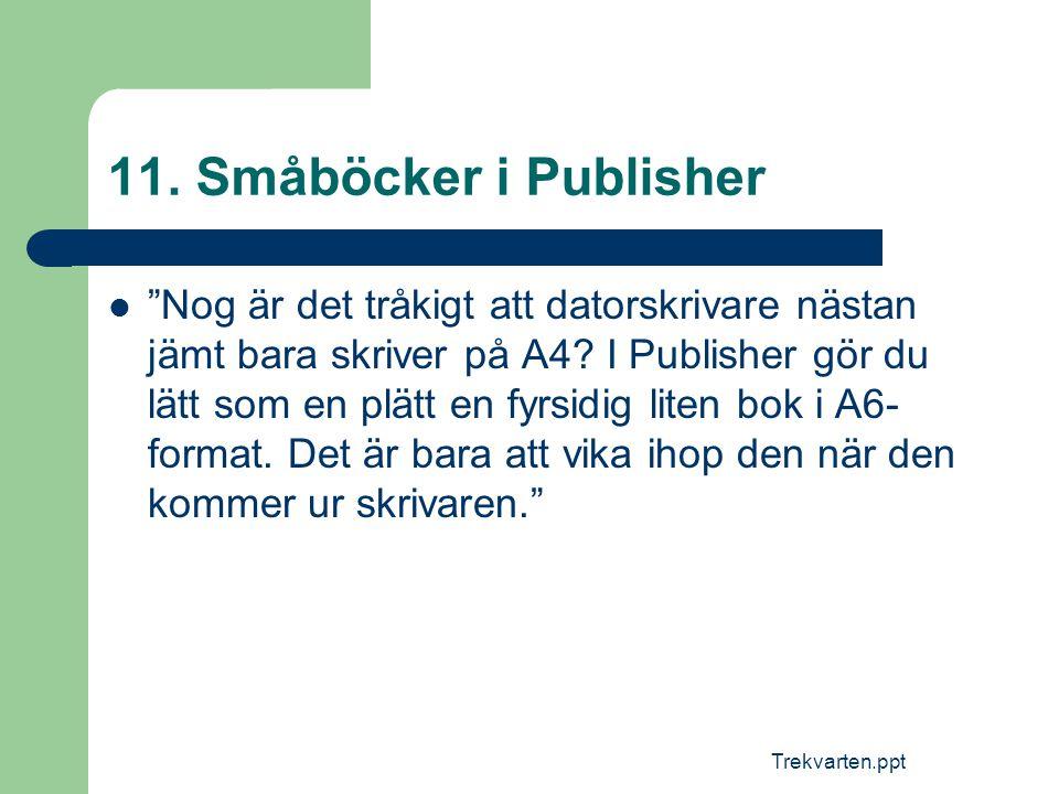"""Trekvarten.ppt 11. Småböcker i Publisher  """"Nog är det tråkigt att datorskrivare nästan jämt bara skriver på A4? I Publisher gör du lätt som en plätt"""