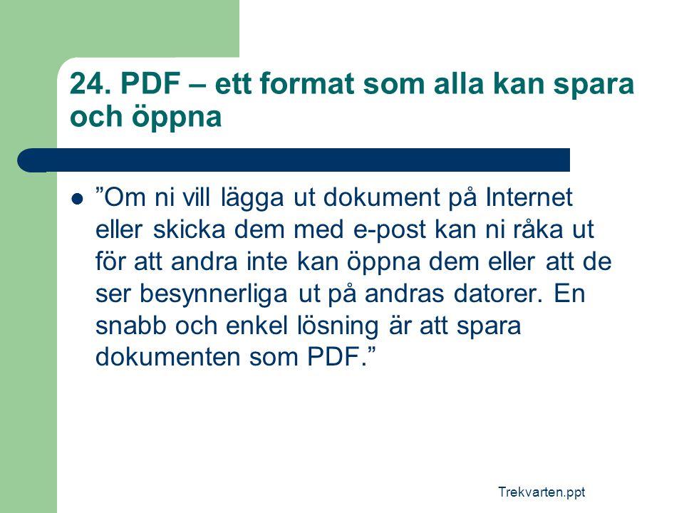 """Trekvarten.ppt 24. PDF – ett format som alla kan spara och öppna  """"Om ni vill lägga ut dokument på Internet eller skicka dem med e-post kan ni råka u"""