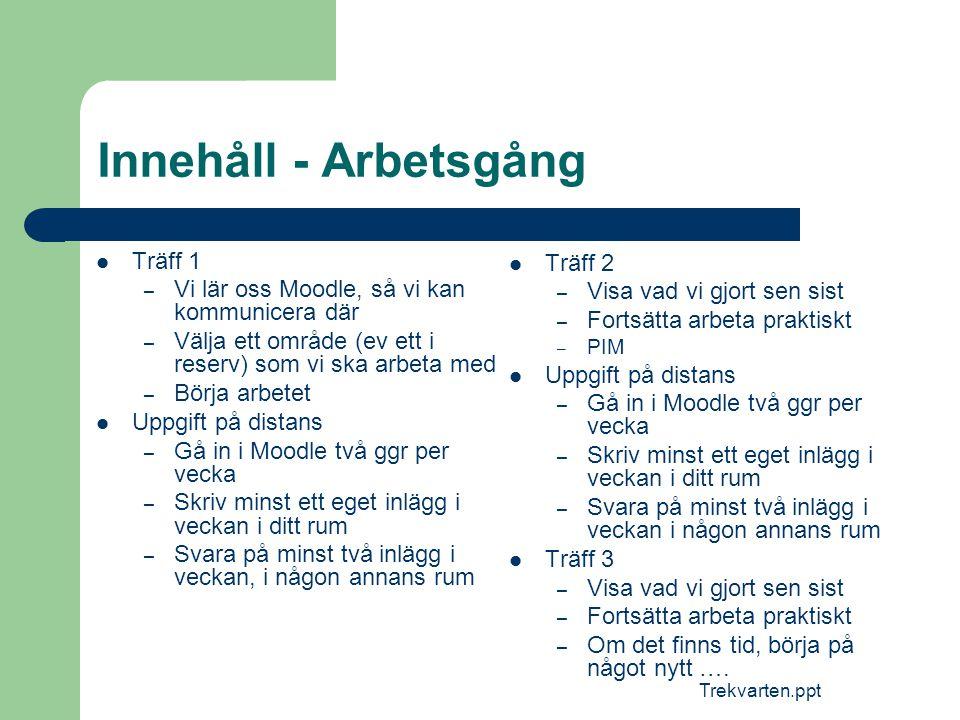 Trekvarten.ppt Innehåll - Arbetsgång  Träff 1 – Vi lär oss Moodle, så vi kan kommunicera där – Välja ett område (ev ett i reserv) som vi ska arbeta m