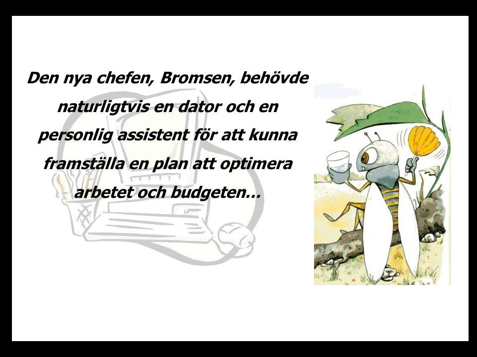 Den nya chefen, Bromsen, behövde naturligtvis en dator och en personlig assistent för att kunna framställa en plan att optimera arbetet och budgeten…